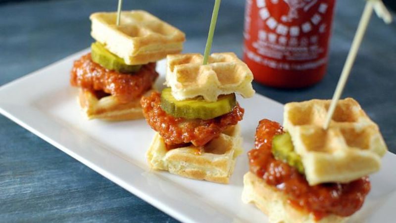 Chicken And Waffles Appetizer  Sriracha Chicken Waffle Bites Recipe Tablespoon