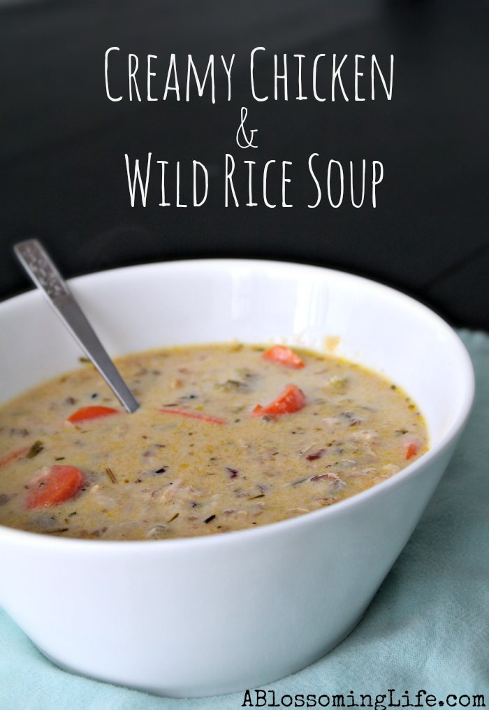 Chicken And Wild Rice Soup Recipe  Creamy Chicken and Wild Rice Soup A Blossoming Life