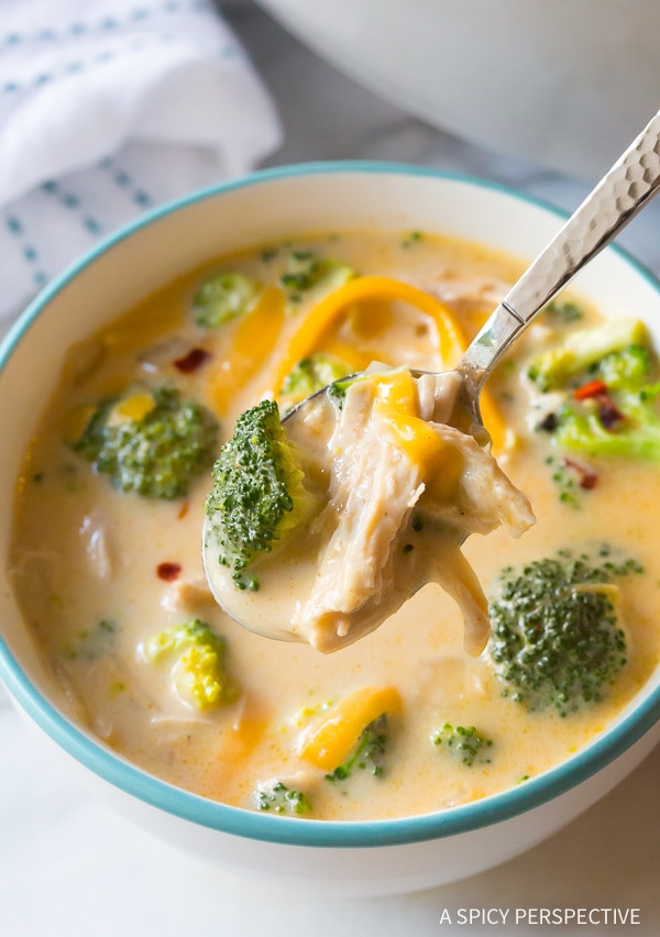 Chicken Broccoli Cheese Soup  Skinny Creamy Chicken Broccoli Soup A Spicy Perspective