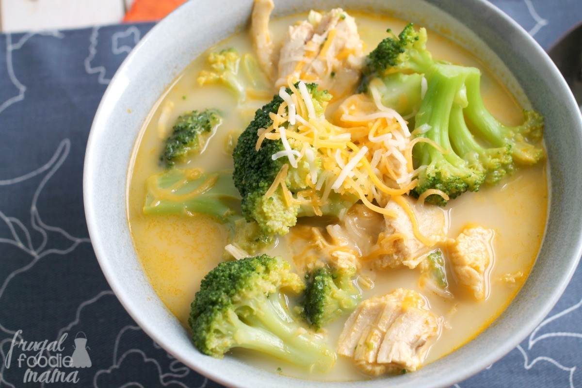 Chicken Broccoli Cheese Soup  Frugal Foo Mama Easy Cheesy Broccoli Chicken Soup