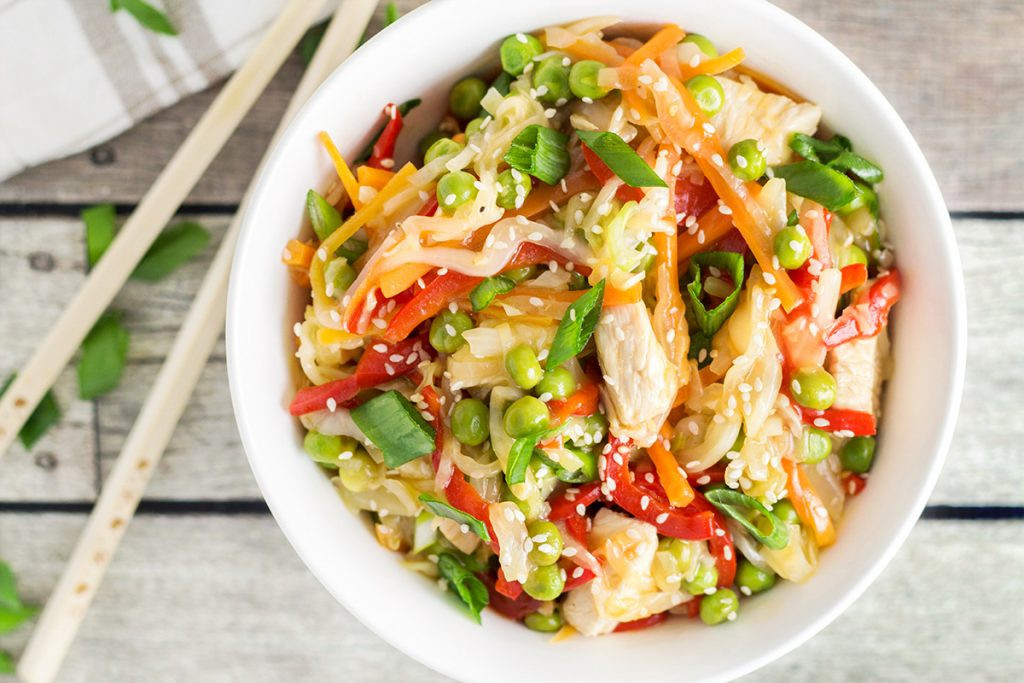 Chicken Cabbage Stir Fry  Chicken Cabbage Stir Fry w Red Pepper Peas & Carrot