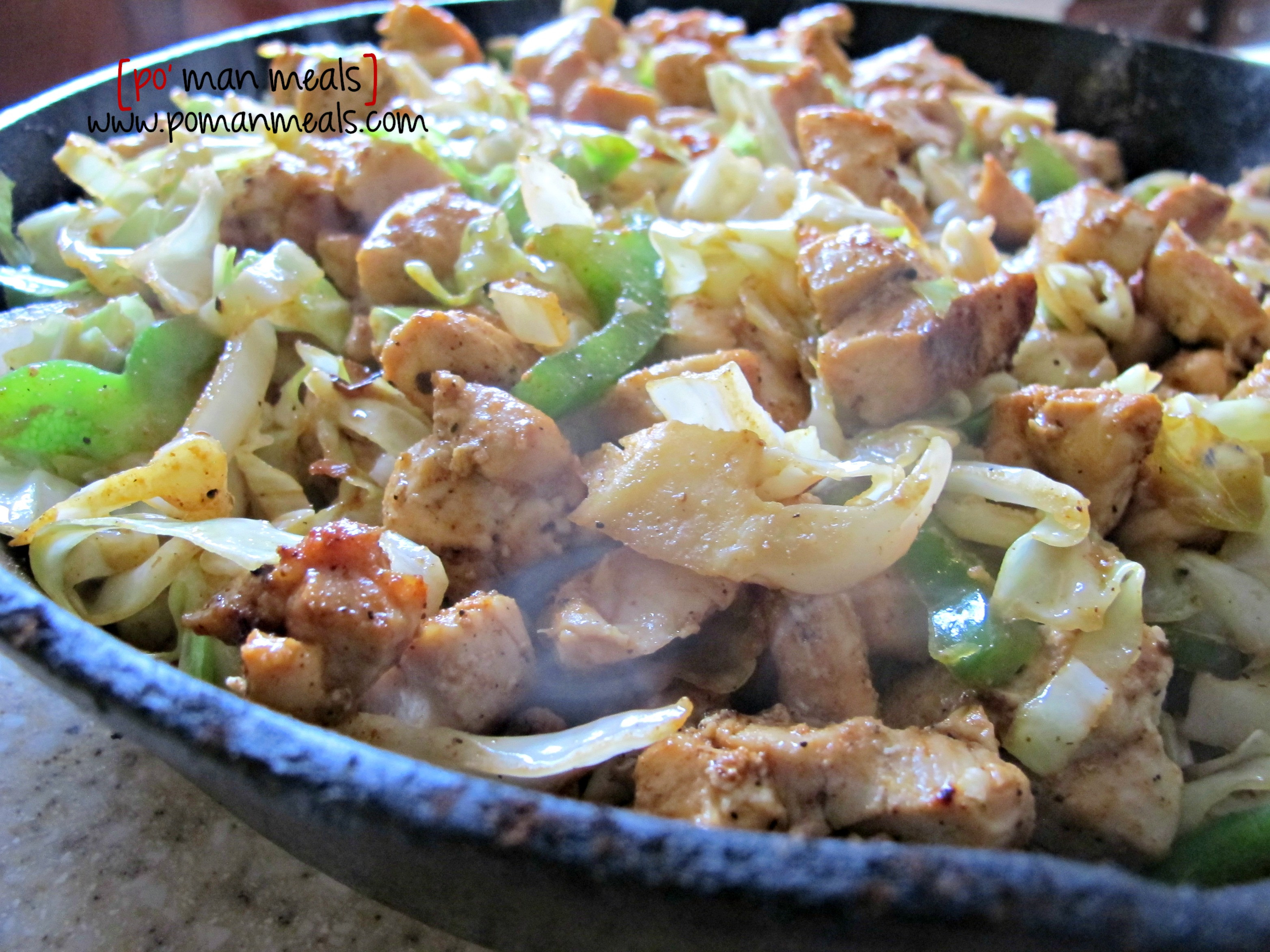 Chicken Cabbage Stir Fry  po man meals chicken and cabbage stir fry skillet