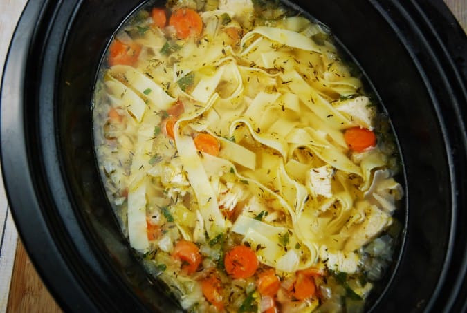 Chicken Noodle Soup Crockpot  Crock Pot Chicken Noodle Soup Recipe 4 Points LaaLoosh