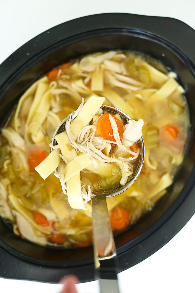 Chicken Noodle Soup Crockpot  Crock Pot Chicken Noodle Soup Recipe Happy Healthy Mama
