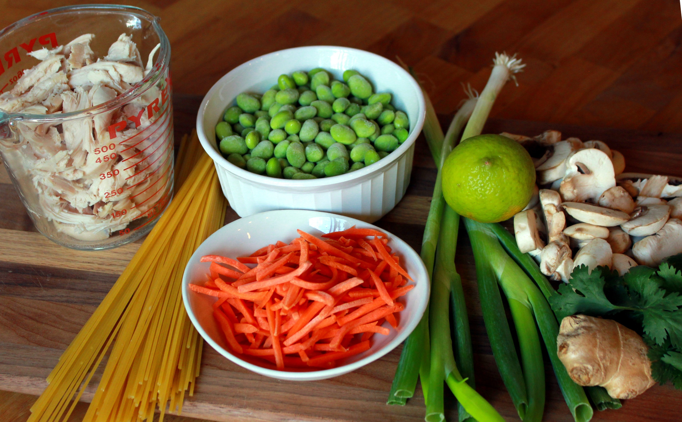 Chicken Noodle Soup Ingredients  Asian Chicken Noodle Soup with Edamame Mushrooms and