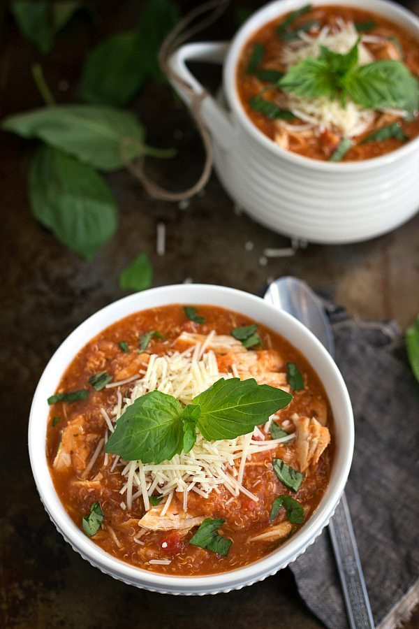 Chicken Parm Soup  Slow Cooker Quinoa Chicken Parmesan Soup