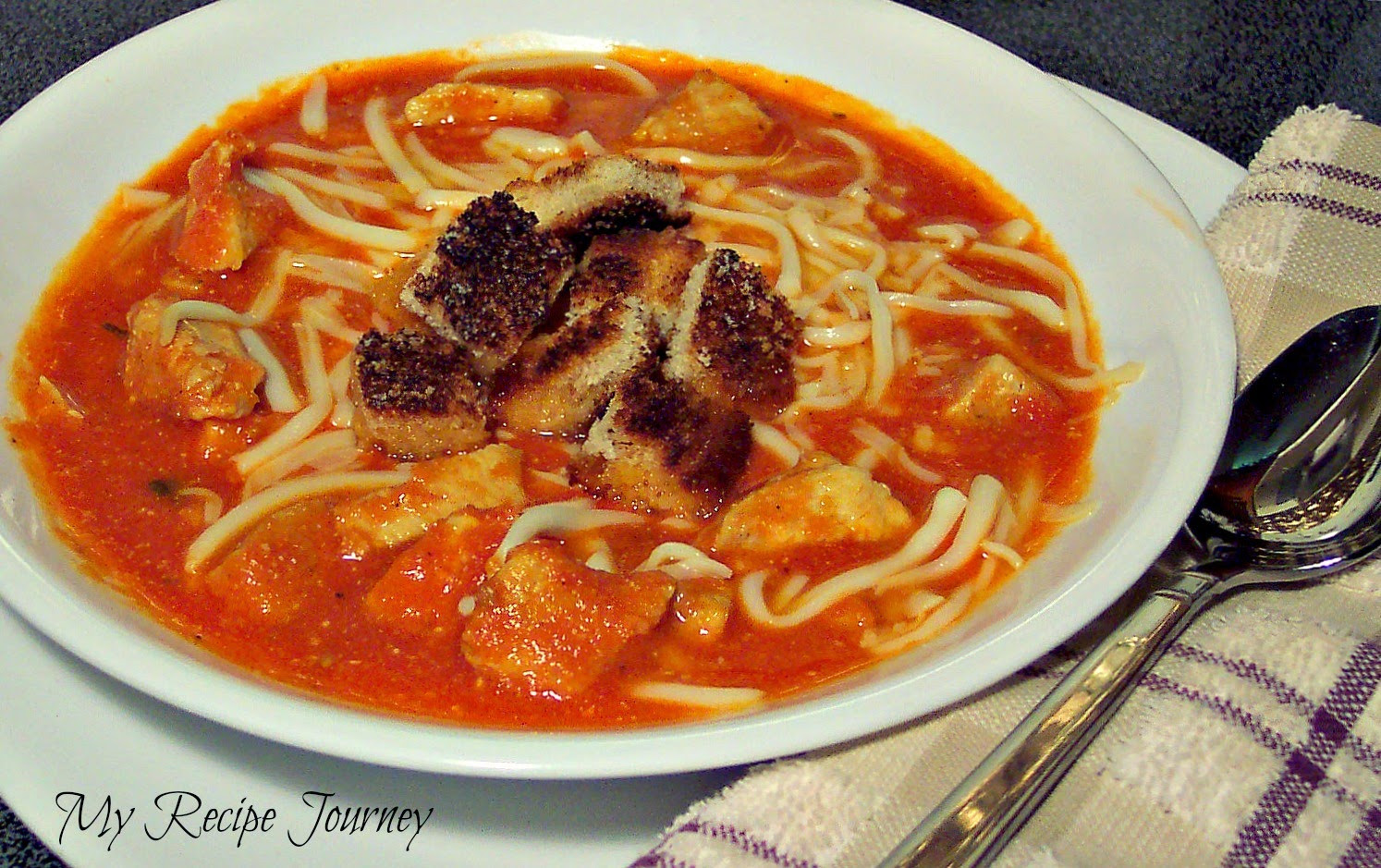 Chicken Parm Soup  My Recipe Journey Easy Chicken Parmesan Soup