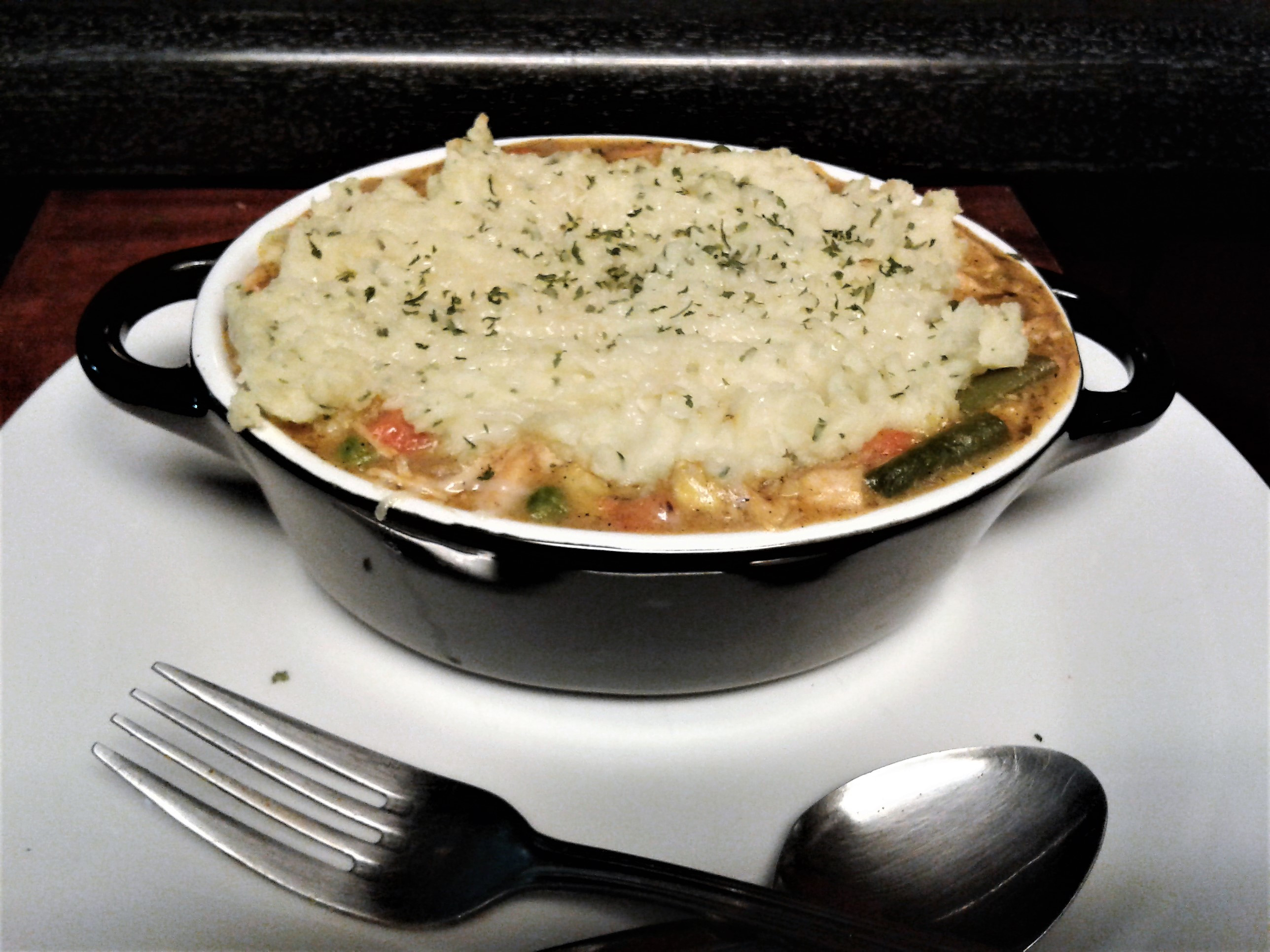 Chicken Pot Pie With Potatoes  Chicken Pot Pie topped with Mashed Potatoes