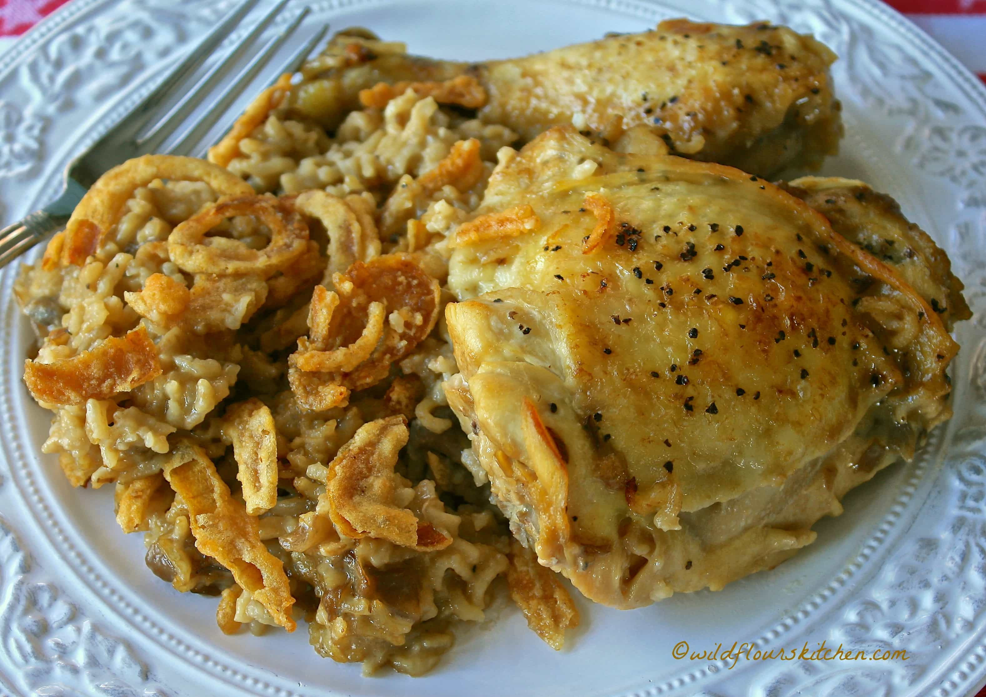 Chicken Rice Casserole  Cream of Mushroom and French ion Chicken and Rice