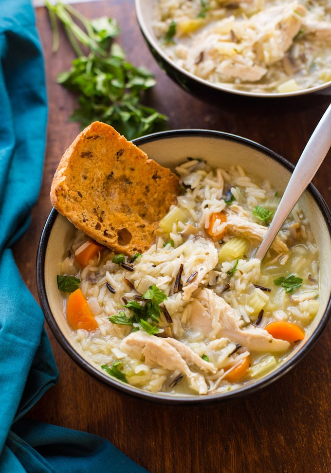 Chicken Rice Soup Instant Pot  Instant Pot Chicken and Wild Rice Soup A Saucy Kitchen