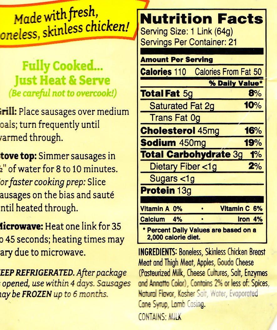 Chicken Sausage Calories  Costco Cuisine Amylu Apple & Gouda Cheese Chicken Sausage