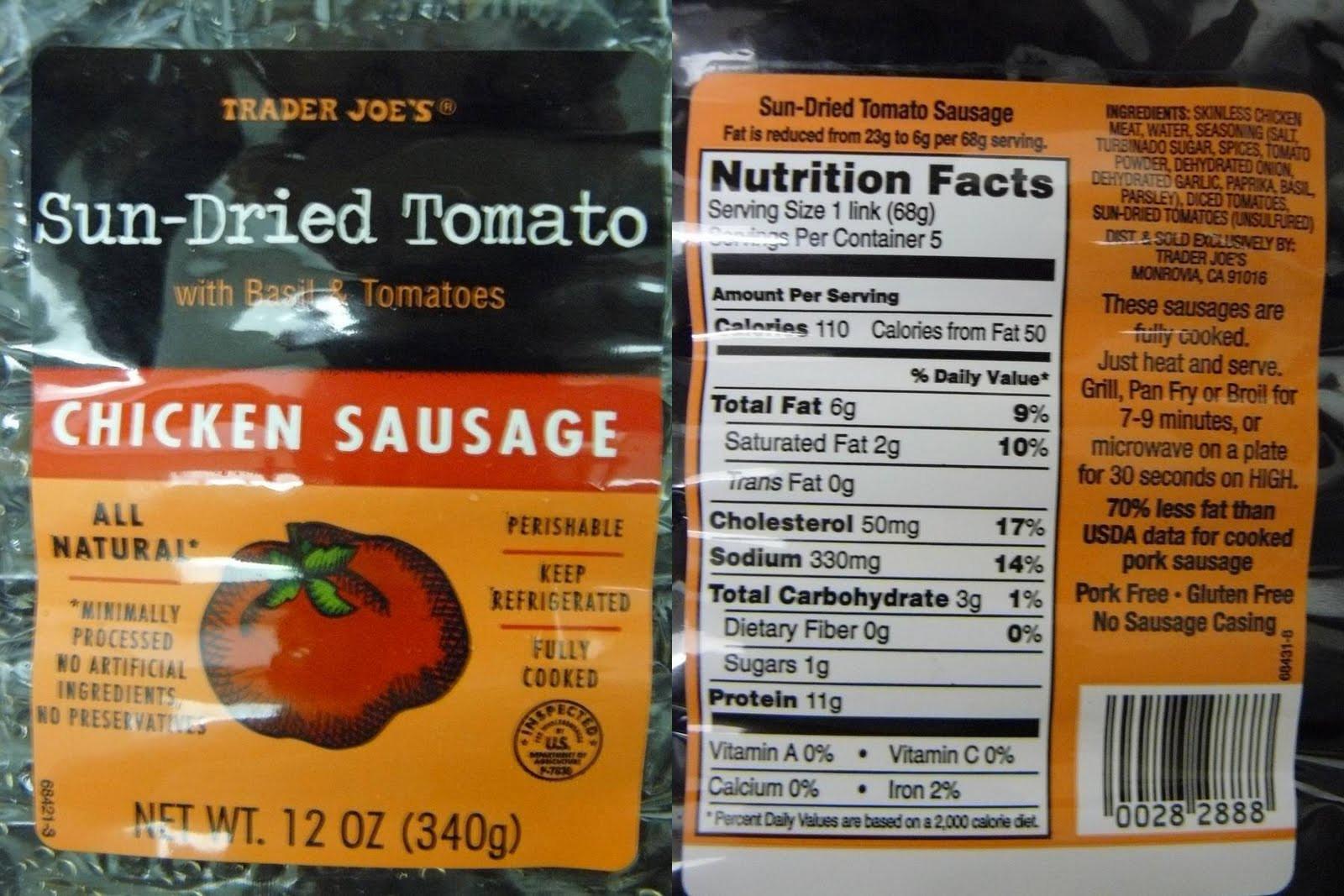 Chicken Sausage Calories  trader joe chicken sausage nutrition