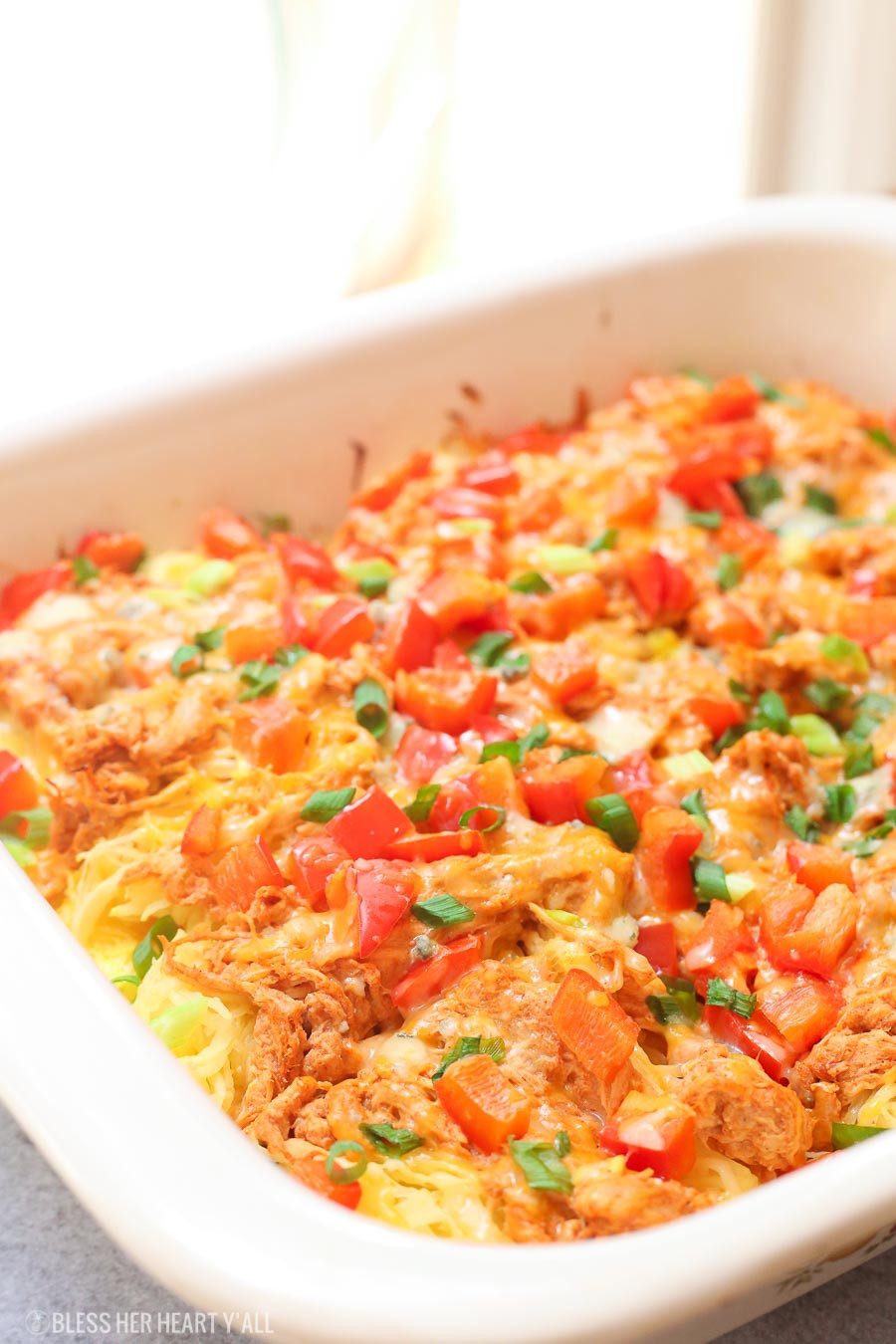 Chicken Spaghetti Squash  Skinny Buffalo Chicken Spaghetti Squash Bake Low Carb