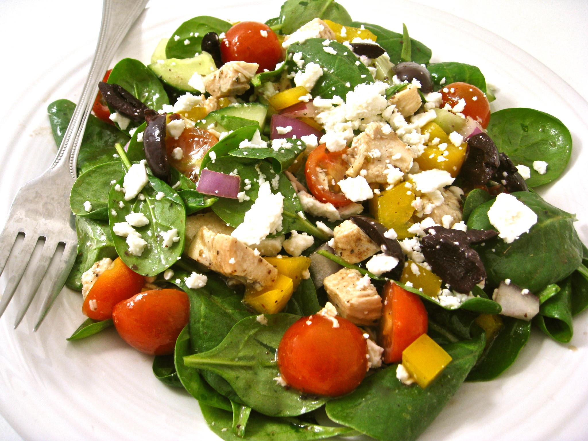Chicken Spinach Salad  Skinny Greek Style Chicken Spinach Salad with Weight