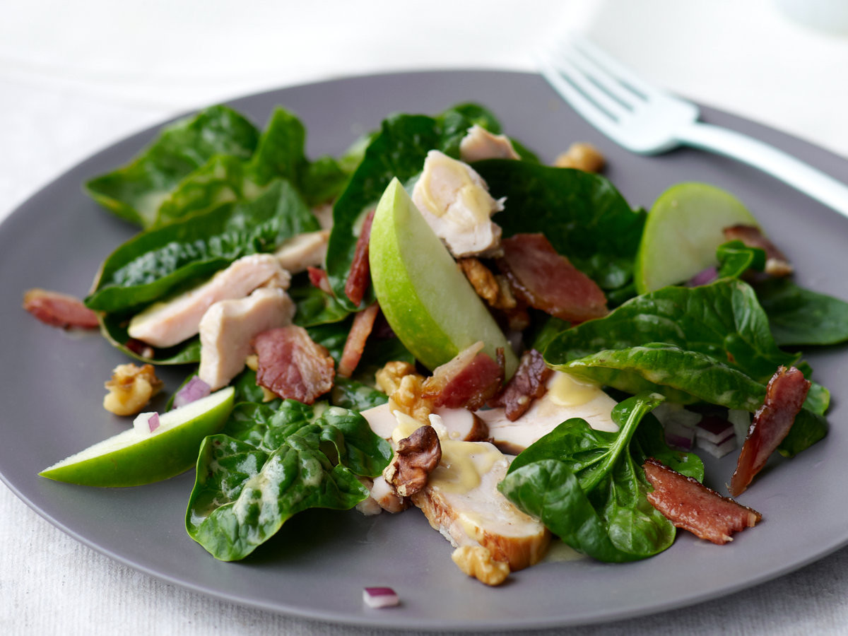 Chicken Spinach Salad  Spinach Salad with Smoked Chicken Apple Walnuts and