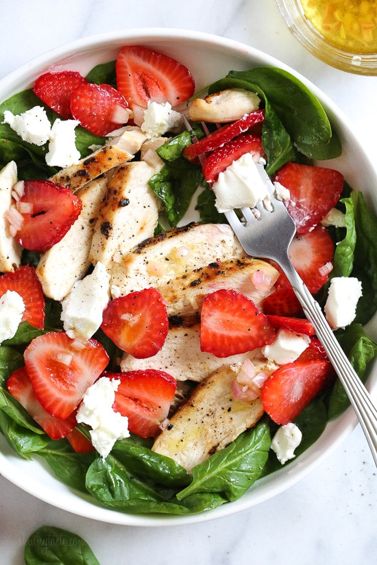Chicken Spinach Salad  Grilled Chicken Salad with Strawberries and Spinach Recipe