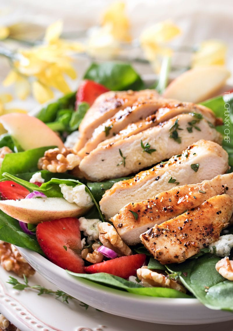 Chicken Spinach Salad  Grilled Chicken Strawberry Spinach Salad The Chunky Chef