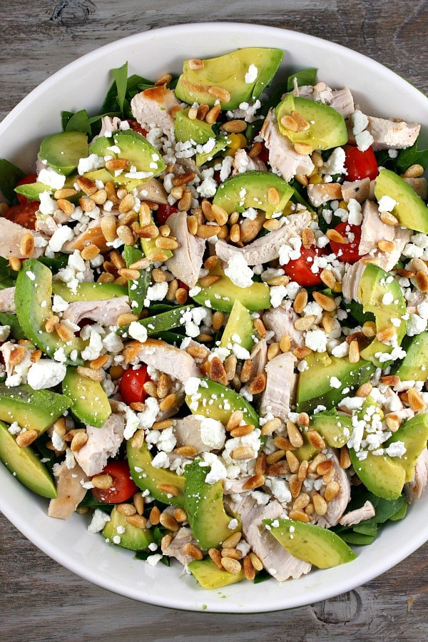 Chicken Spinach Salad  Spinach Salad with Chicken Avocado and Goat Cheese