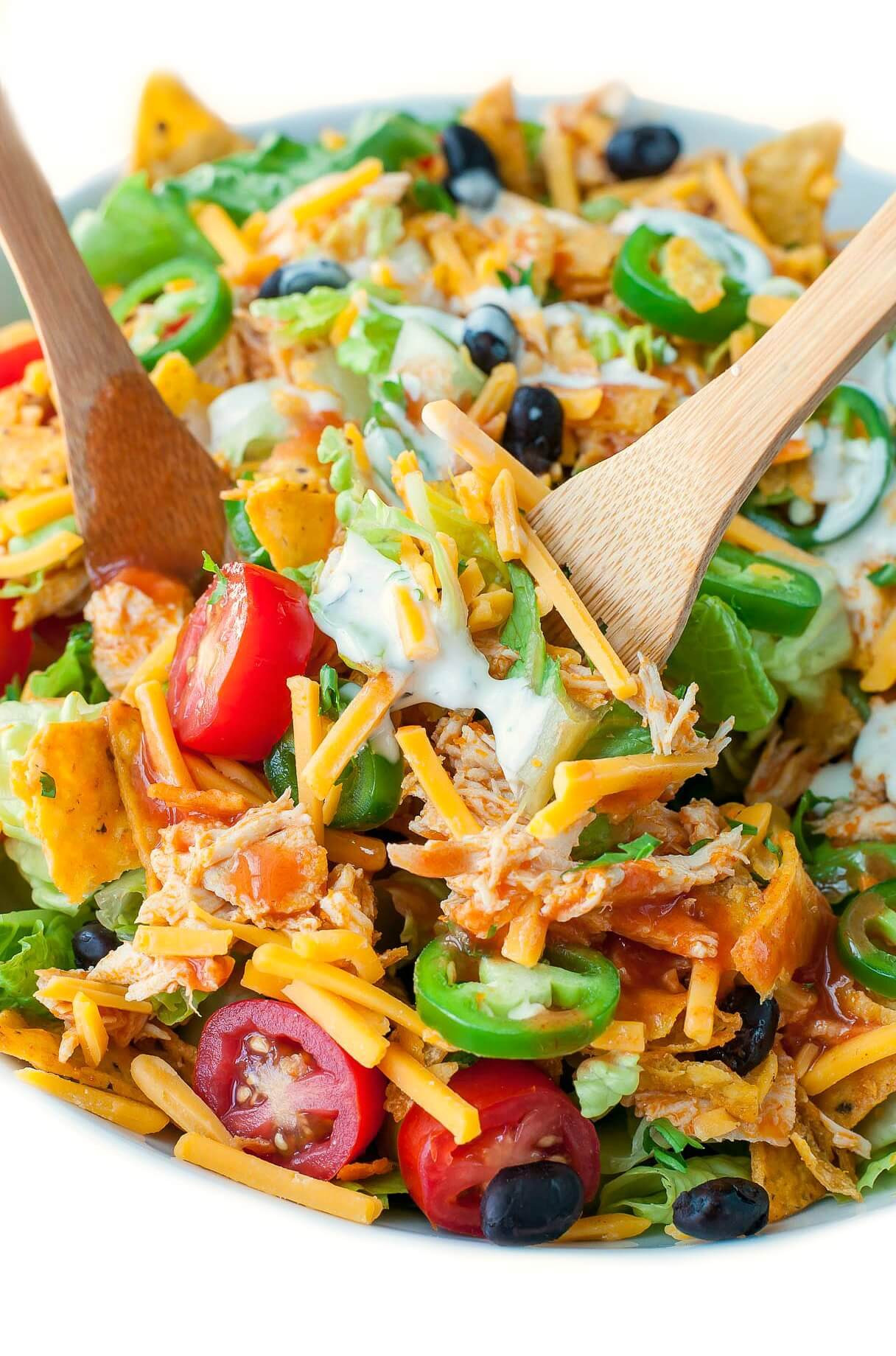 Chicken Taco Salad Recipe  Buffalo Chicken Taco Salad Peas And Crayons