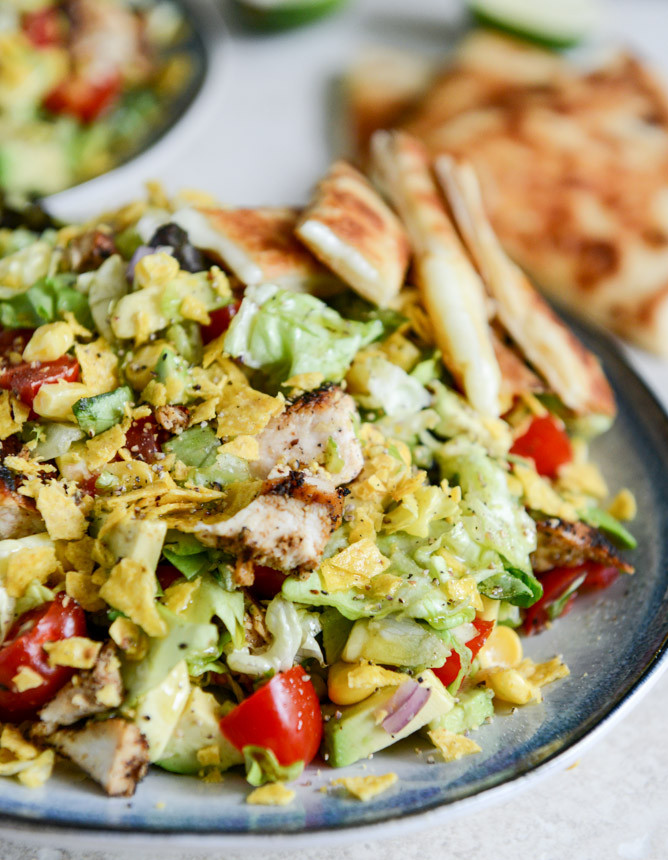 Chicken Taco Salad Recipe  Chopped Chicken Taco Salads with Cheese Quesadilla Strips