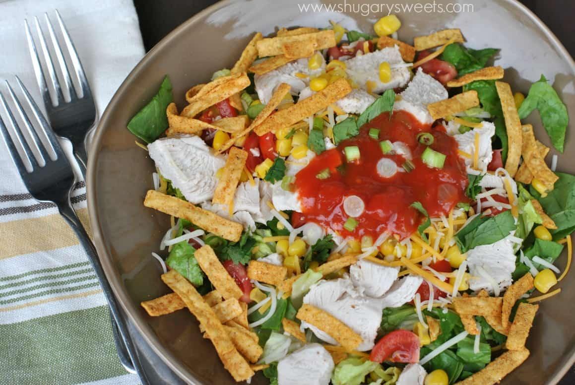 Chicken Taco Salad Recipe  Layered Chicken Taco Salad Shugary Sweets