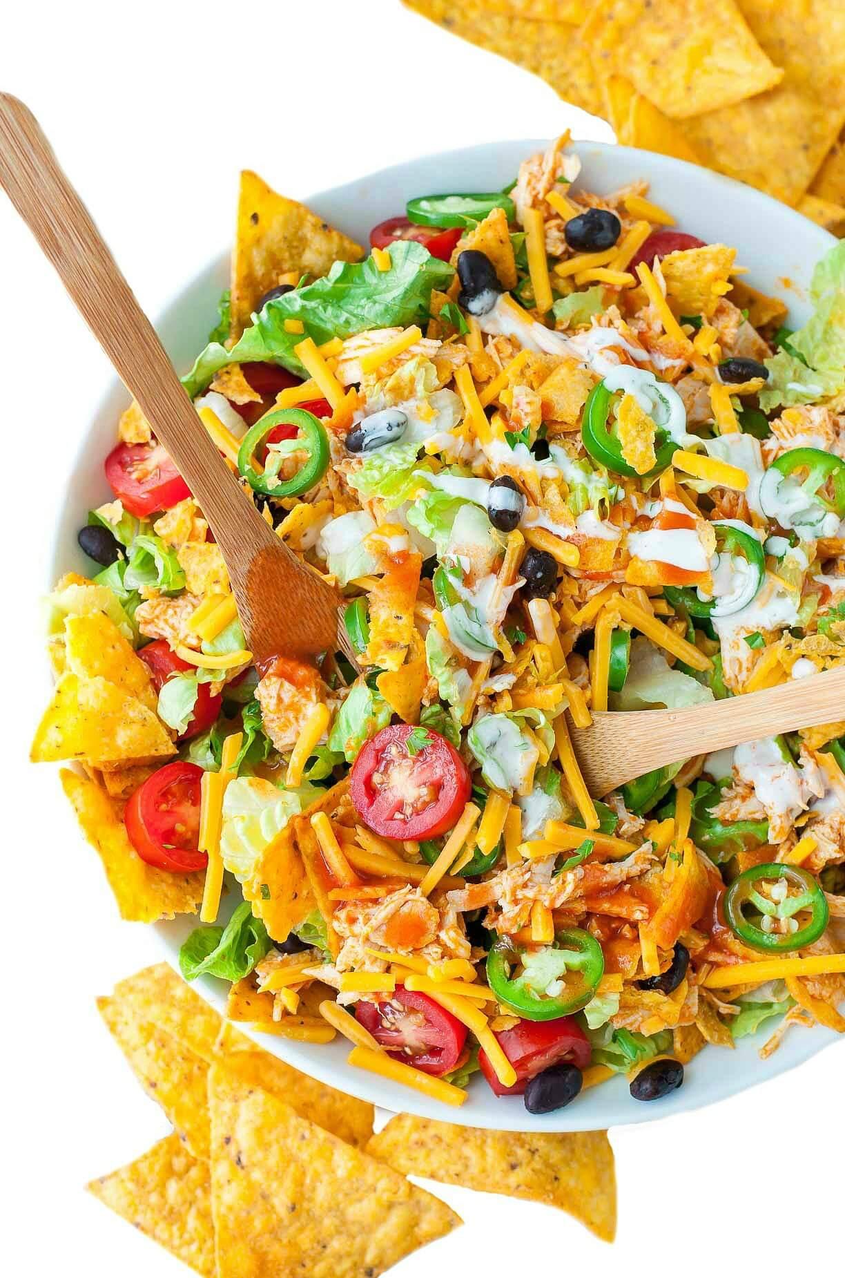 Chicken Taco Salad Recipe  Buffalo Chicken Taco Salad Peas And Crayons