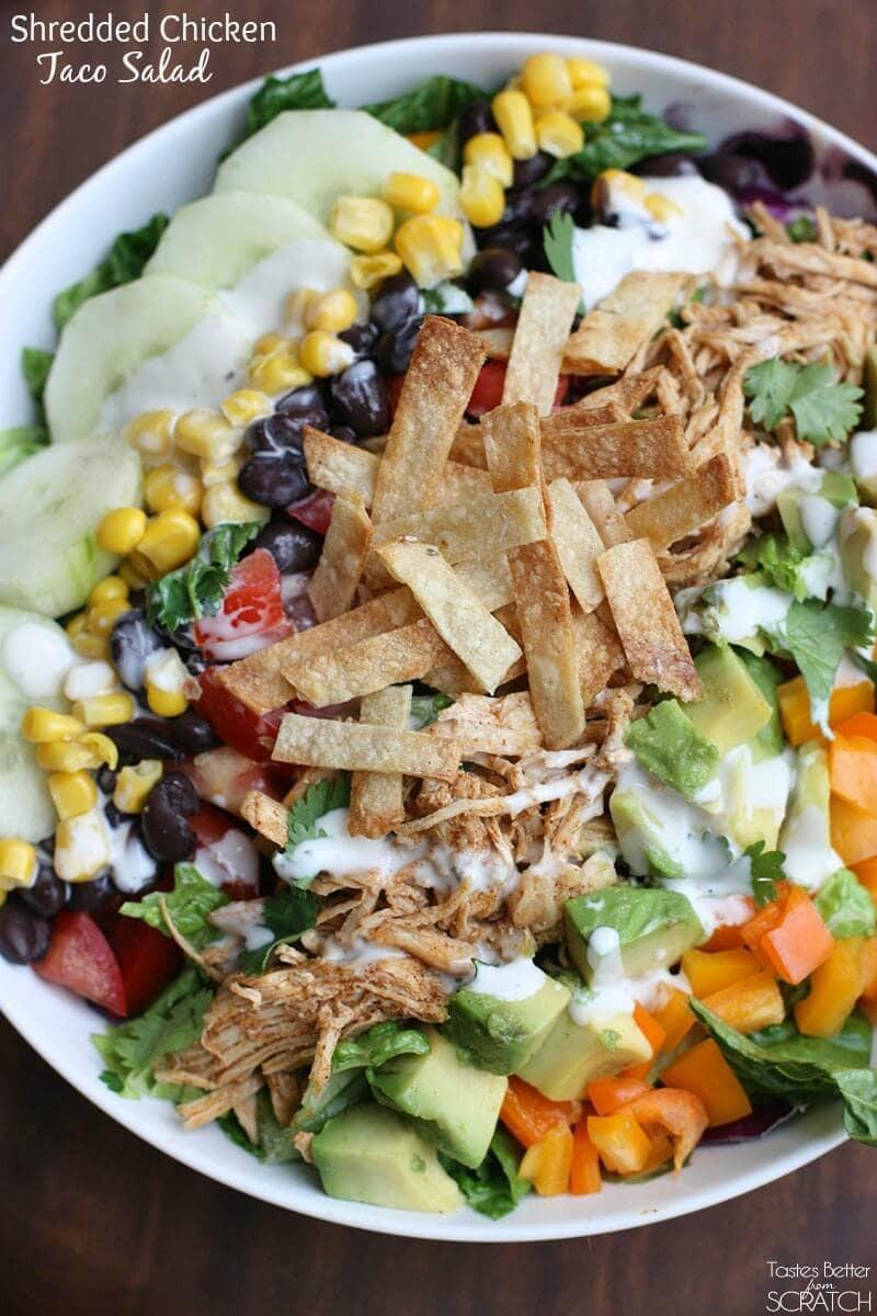 Chicken Taco Salad Recipe  Shredded Chicken Taco Salad I Heart Nap Time