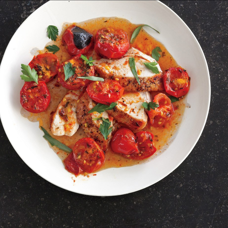 Chicken Tomato Recipe  Chicken with Herb Roasted Tomatoes and Pan Sauce recipe
