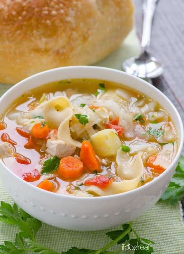 Chicken Veggie Soup  Chicken Noodle Ve able Soup iFOODreal Healthy Family