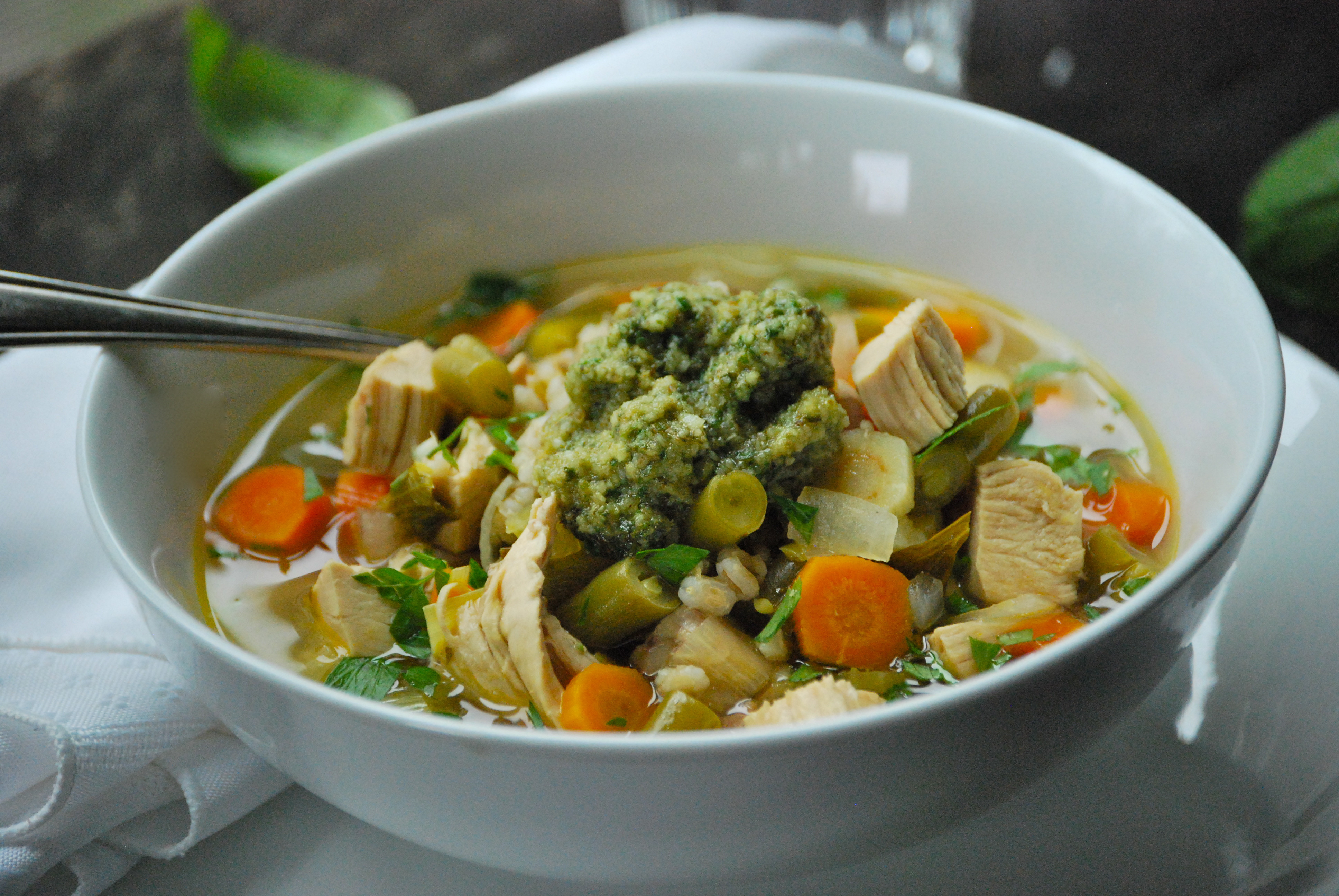 Chicken Veggie Soup  Roasted Chicken Ve able Soup with Lemon and Pesto