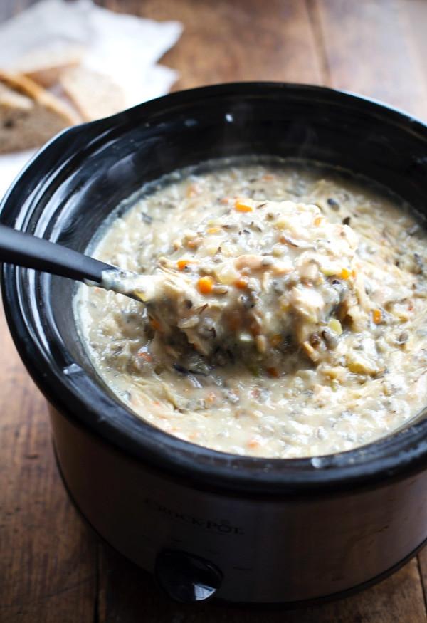 Chicken Wild Rice Soup Recipe  Crockpot Chicken Wild Rice Soup Recipe Pinch of Yum