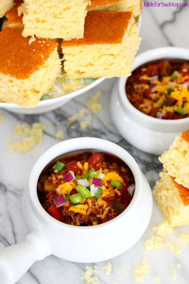 Chili And Cornbread  Slow Cooker Chili & Cornbread Table for Two