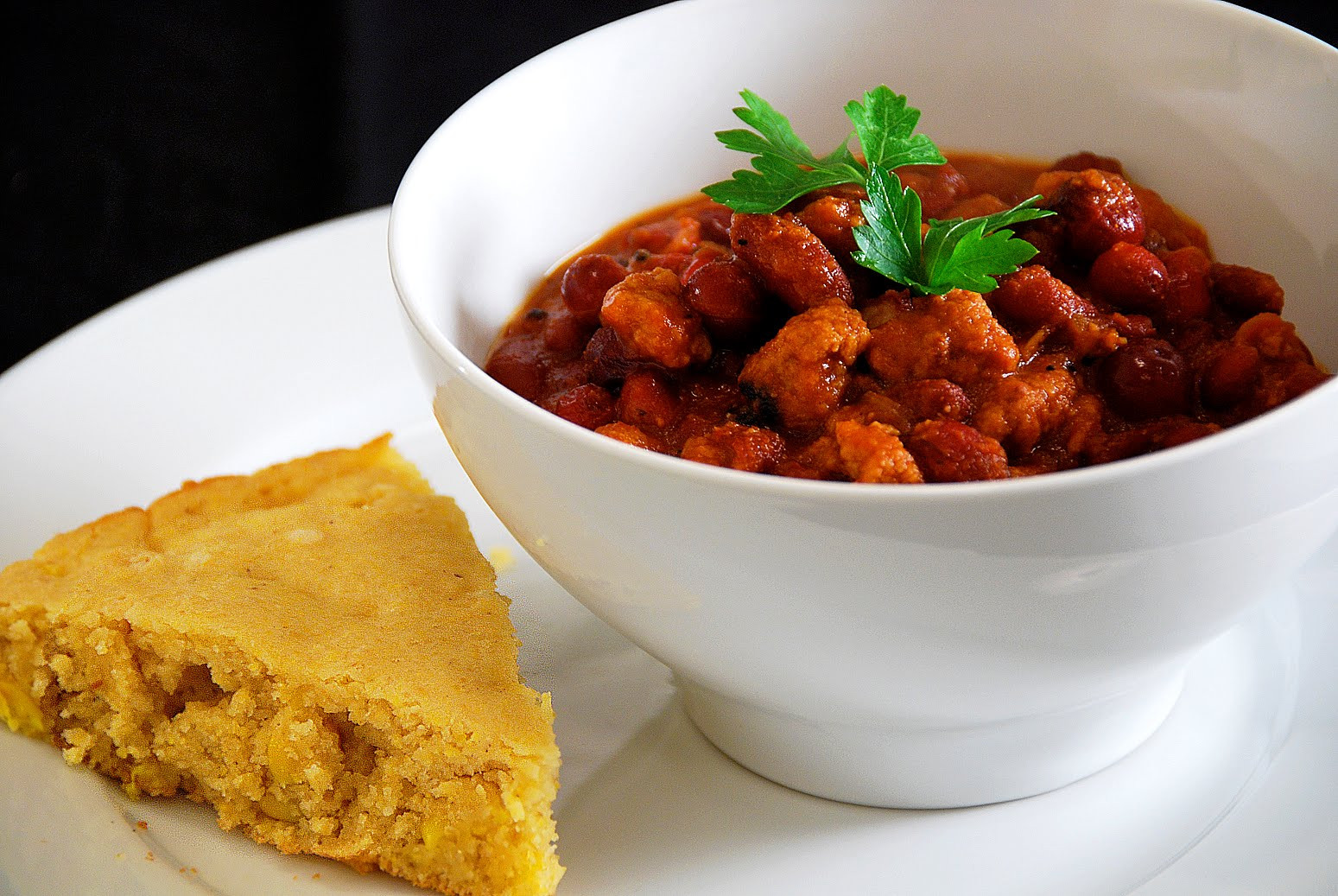 Chili And Cornbread  Three Bean Beef Chili with Honey Cornbread