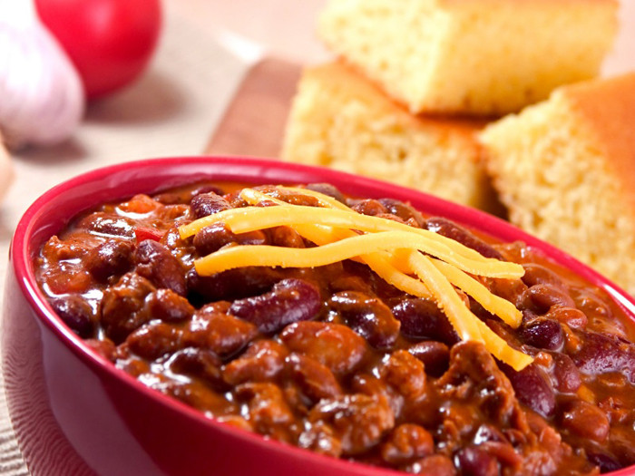 Chili And Cornbread  Beef Chili with Beans and Chocolate Plus 2 Styles of