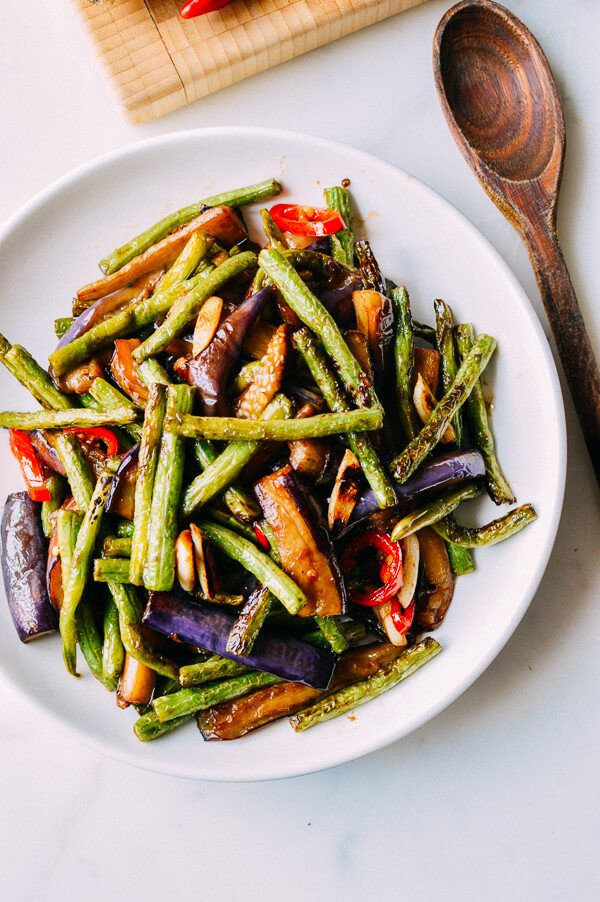 Chinese Vegetarian Recipes  Eggplant String Bean Stir fry Recipe The Woks of Life