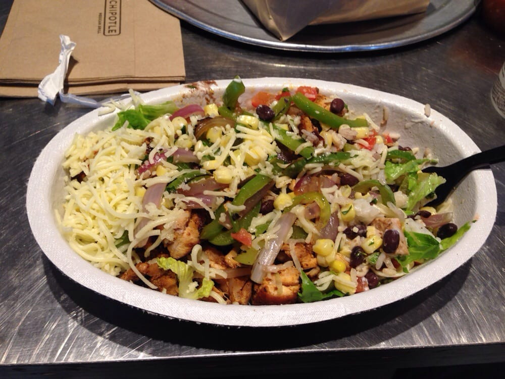 Chipotle Mexican Grill White Rice  Burrito Bowl white rice black beans chicken veggies