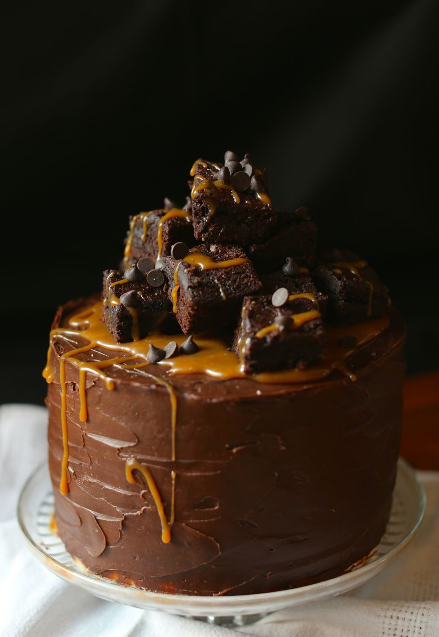 Chocolate Brownies Cake  Salted Caramel and Brownie Layer Cake scarletscorchdroppers