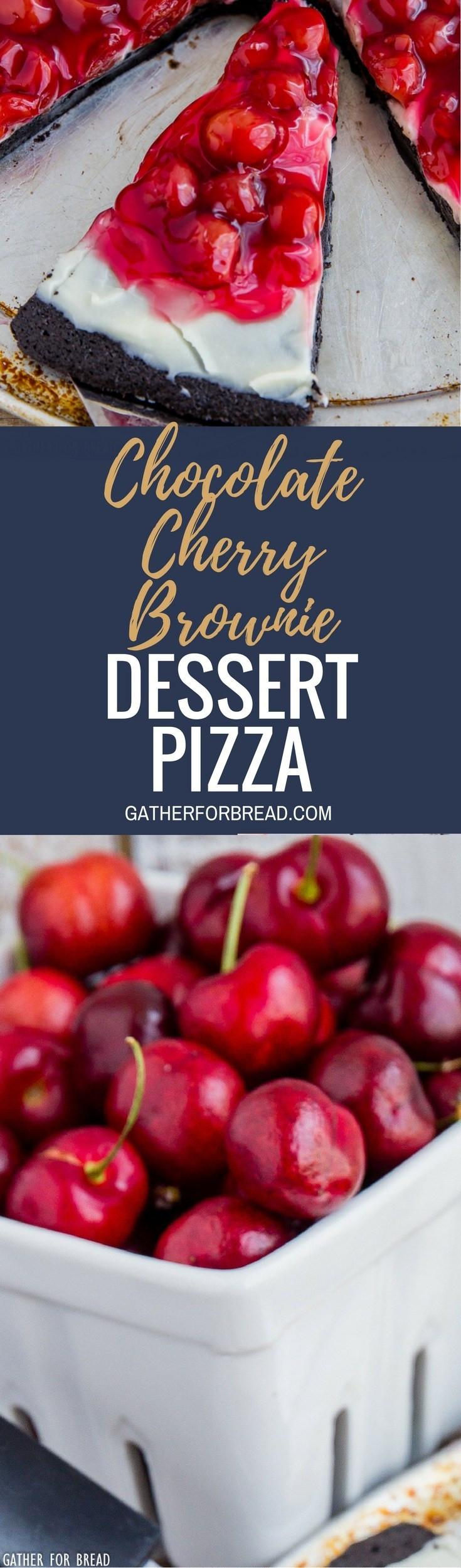 Chocolate Cherry Dessert  Chocolate Cherry Brownie Dessert Pizza Gather for Bread