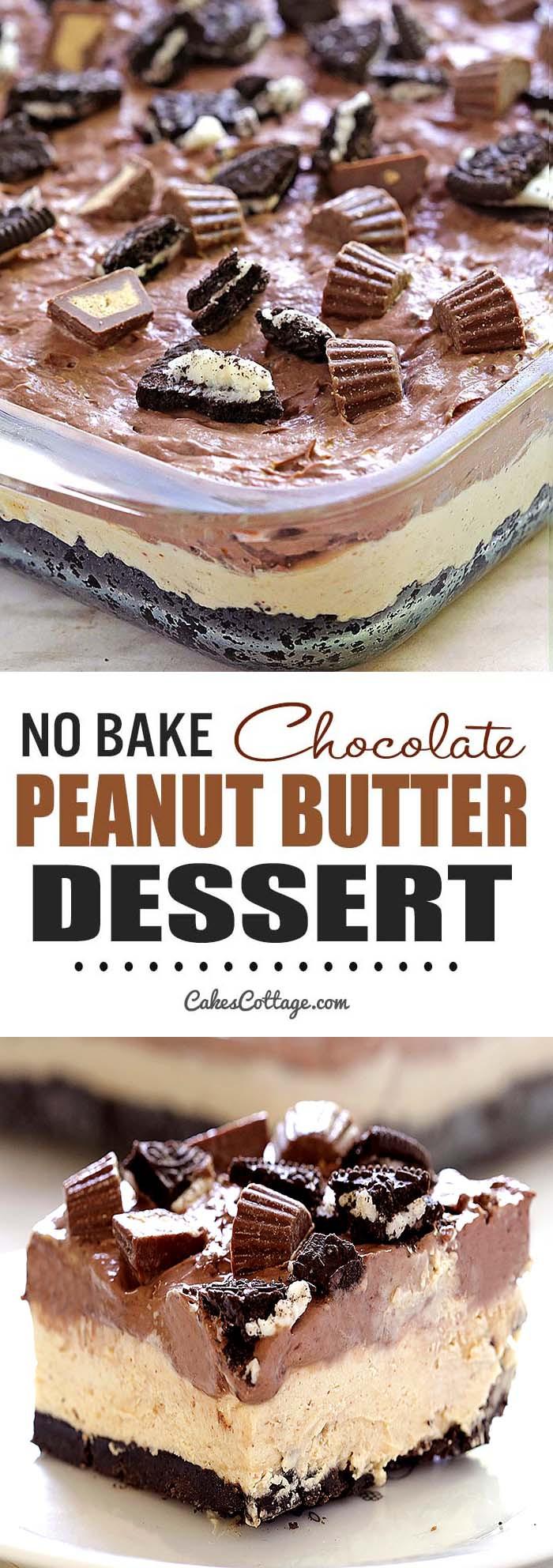 Chocolate Desserts Easy  No Bake Chocolate Peanut Butter Dessert Cakescottage
