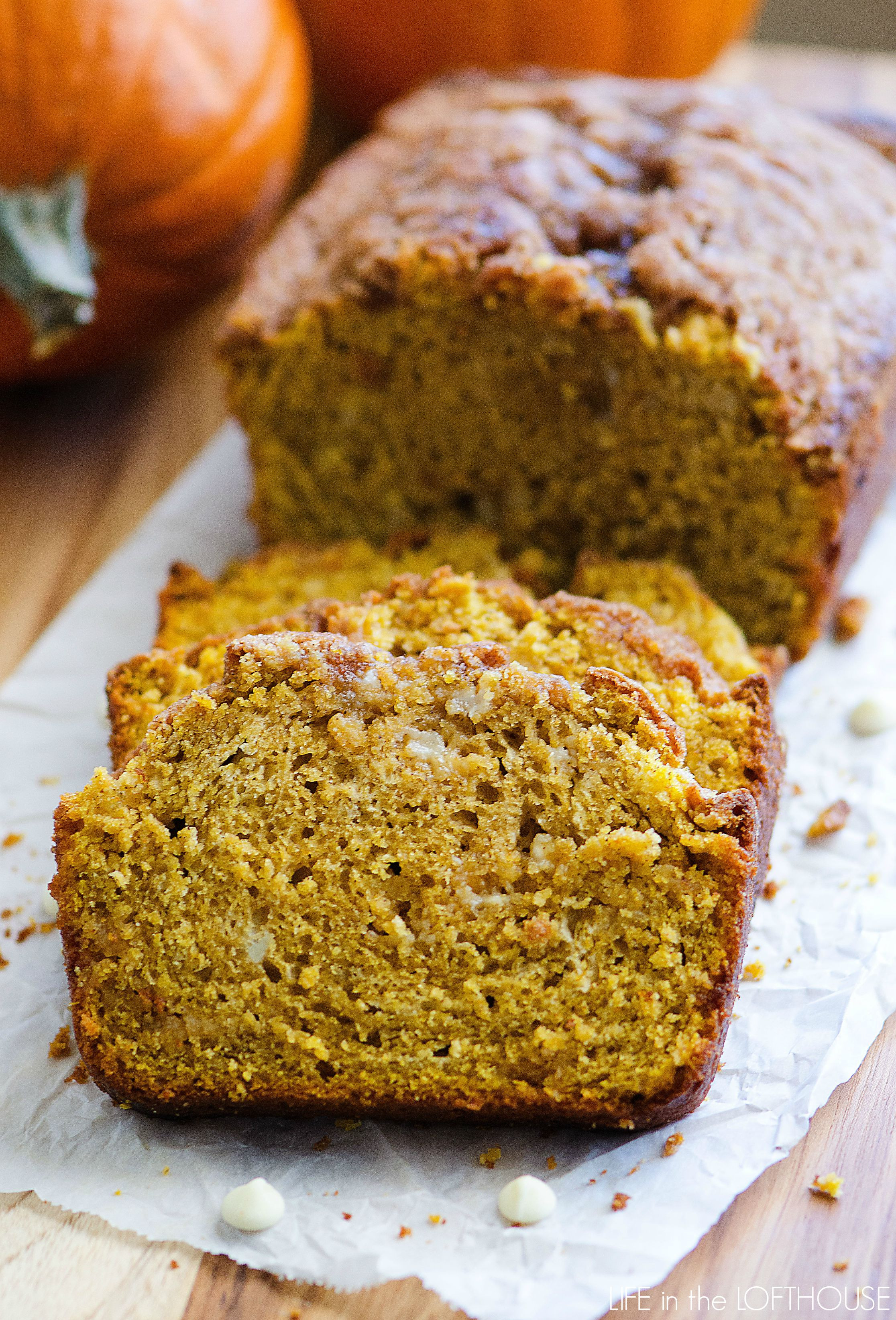 Chocolate Pumpkin Bread  White Chocolate Pumpkin Bread with Streusel Topping