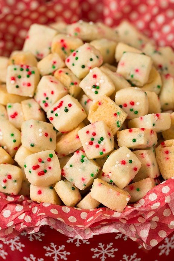 Christmas Baking Reciepes  Funfetti Shortbread Bites Cooking Classy