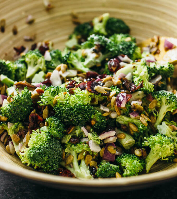Cold Broccoli Salad  Best cold broccoli salad with bacon and cranberries