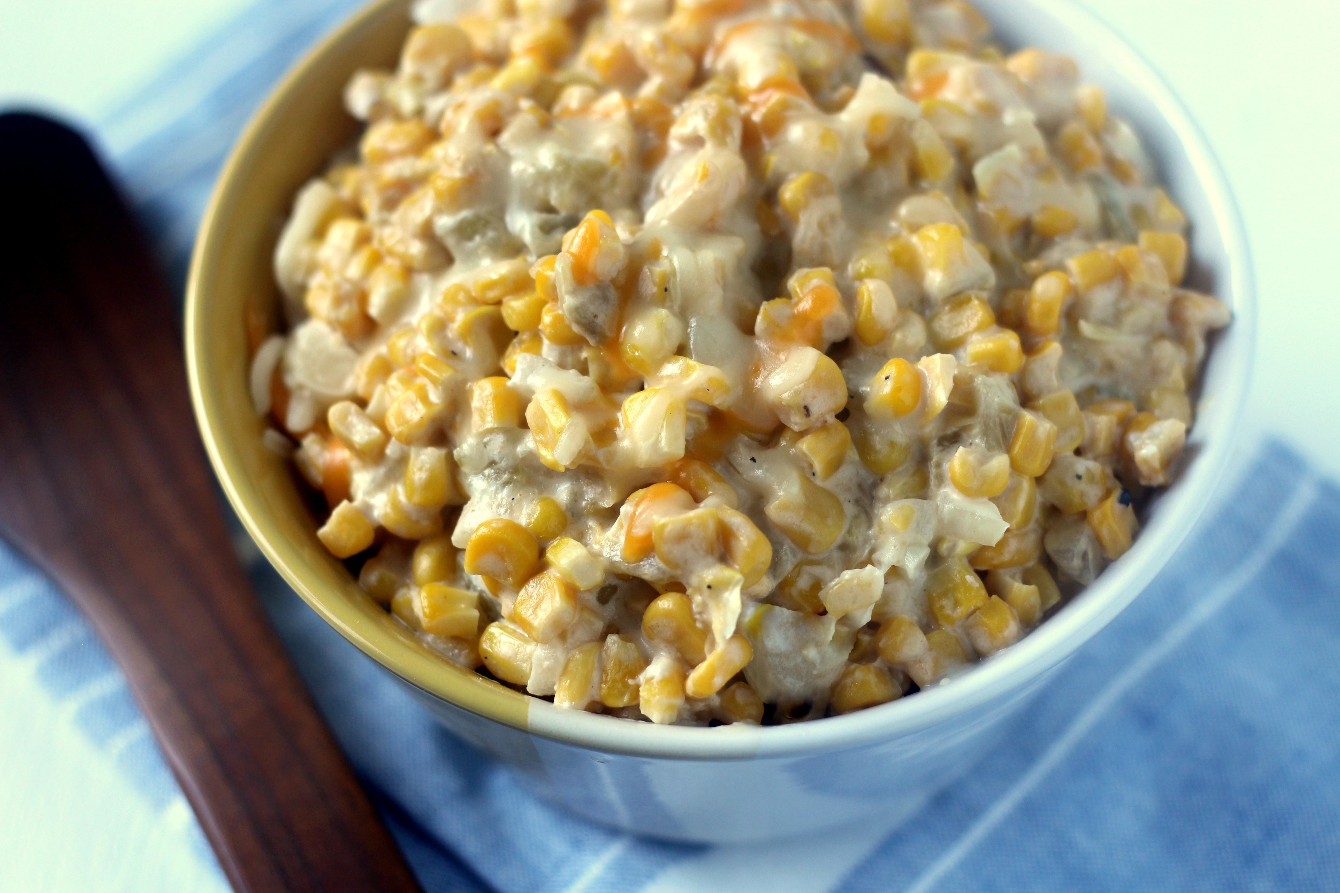Corn Casserole With Cream Cheese  Cream Cheese Corn Casserole with Green Chiles Blackberry