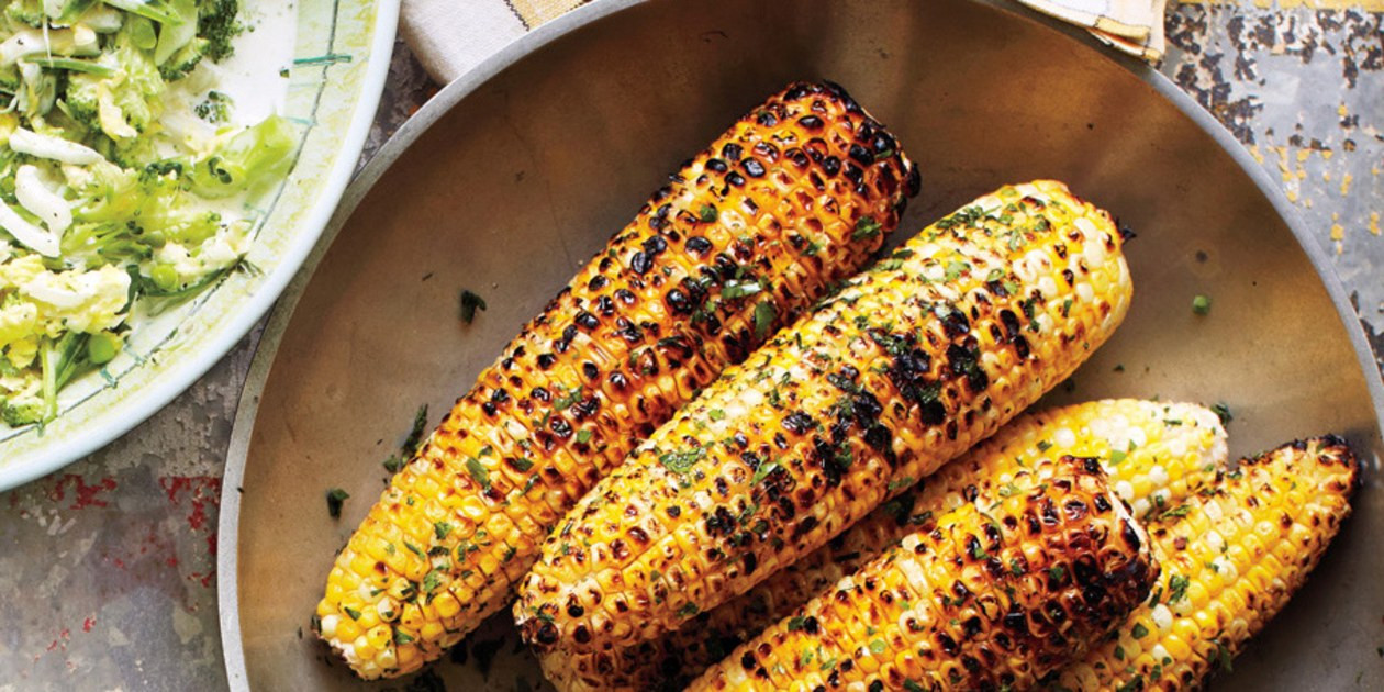 Corn On Grill  Grilled Corn with Herb Butter recipe