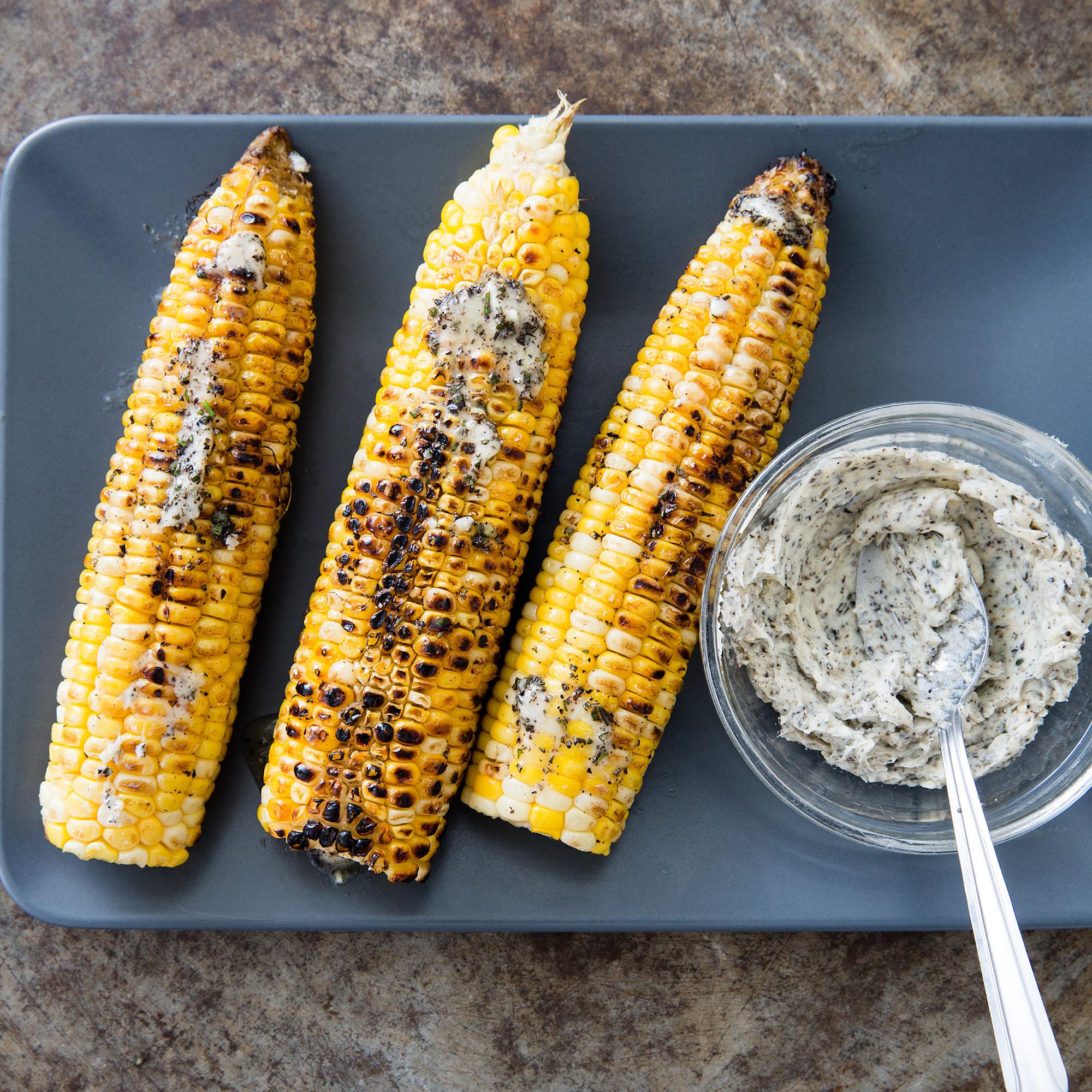 Corn On Grill  Husk Grilled Corn