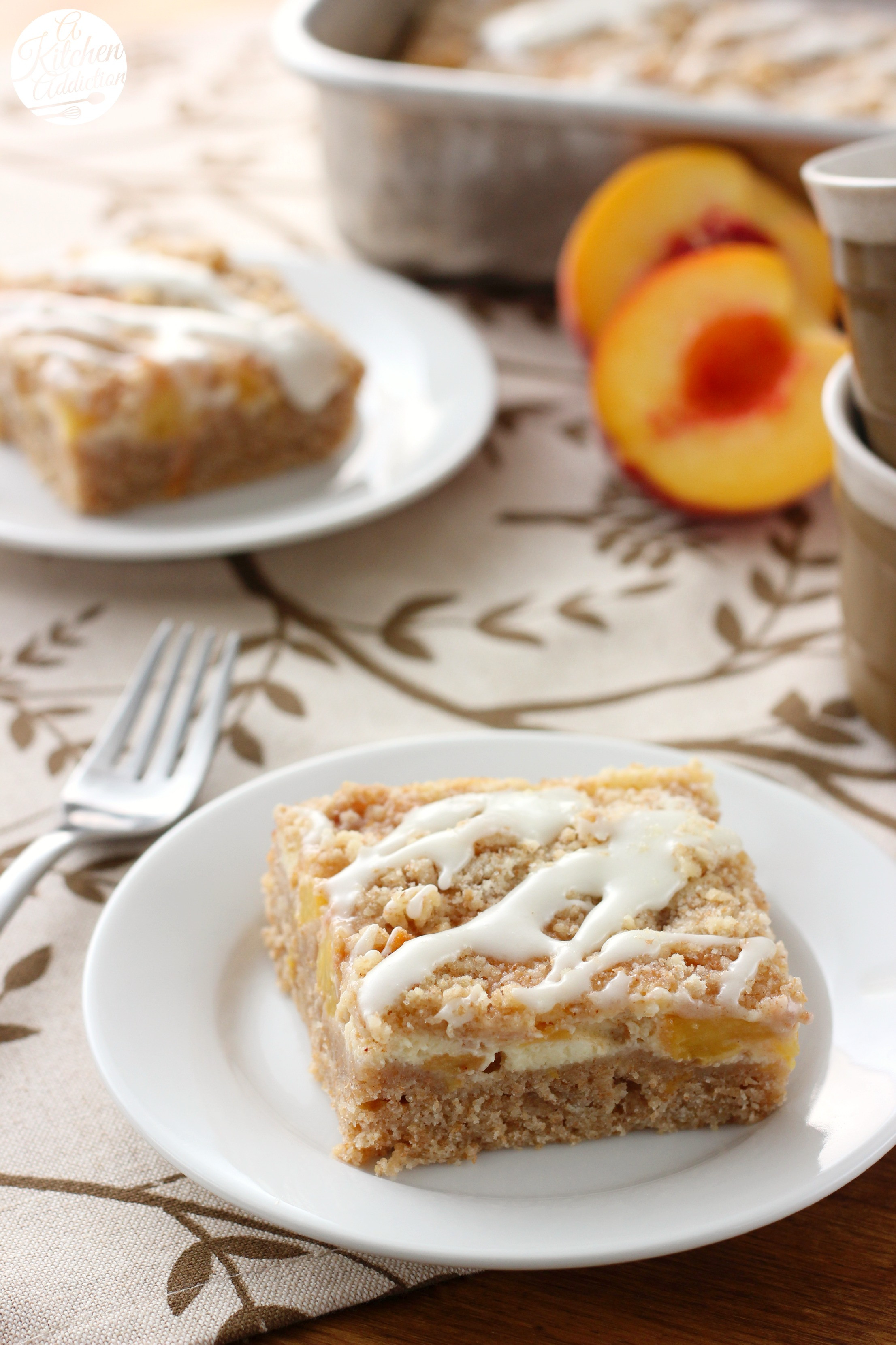 Cream Cheese Cake  Peaches and Cream Cheese Coffee Cake A Kitchen Addiction