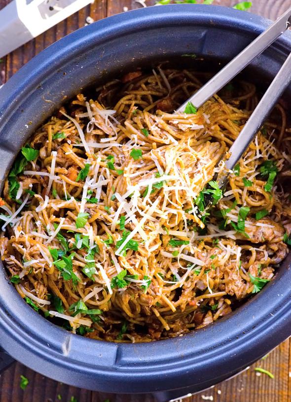 Crock Pot Chicken Spaghetti  Slow Cooker Chicken and Spaghetti Recipe