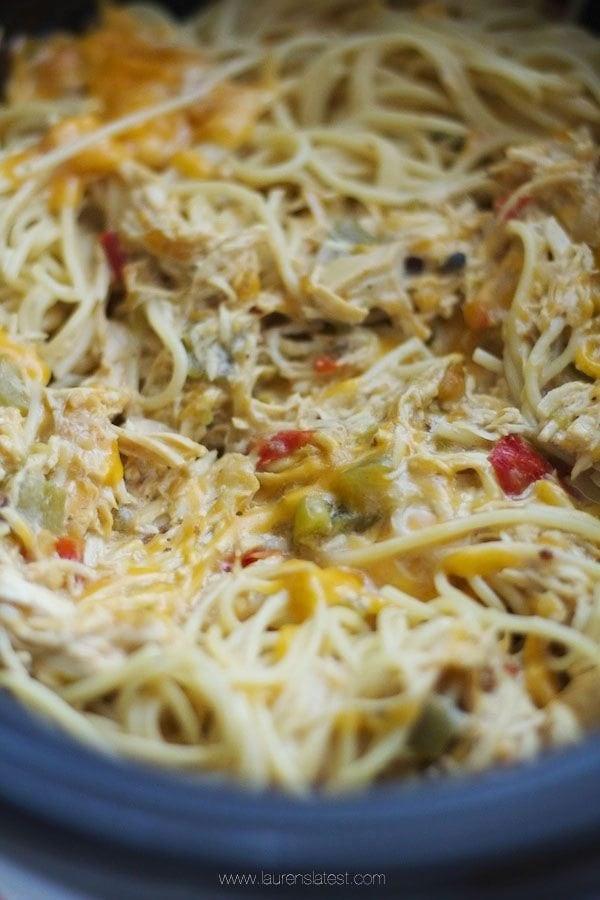 Crock Pot Chicken Spaghetti  Crockpot Cheesy Chicken Spaghetti Recipe Lauren s Latest