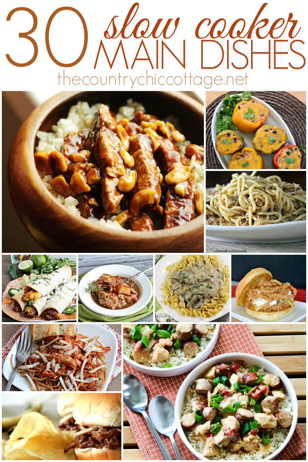 Crock Pot Main Dishes  30 Slow Cooker Main Dishes The Country Chic Cottage