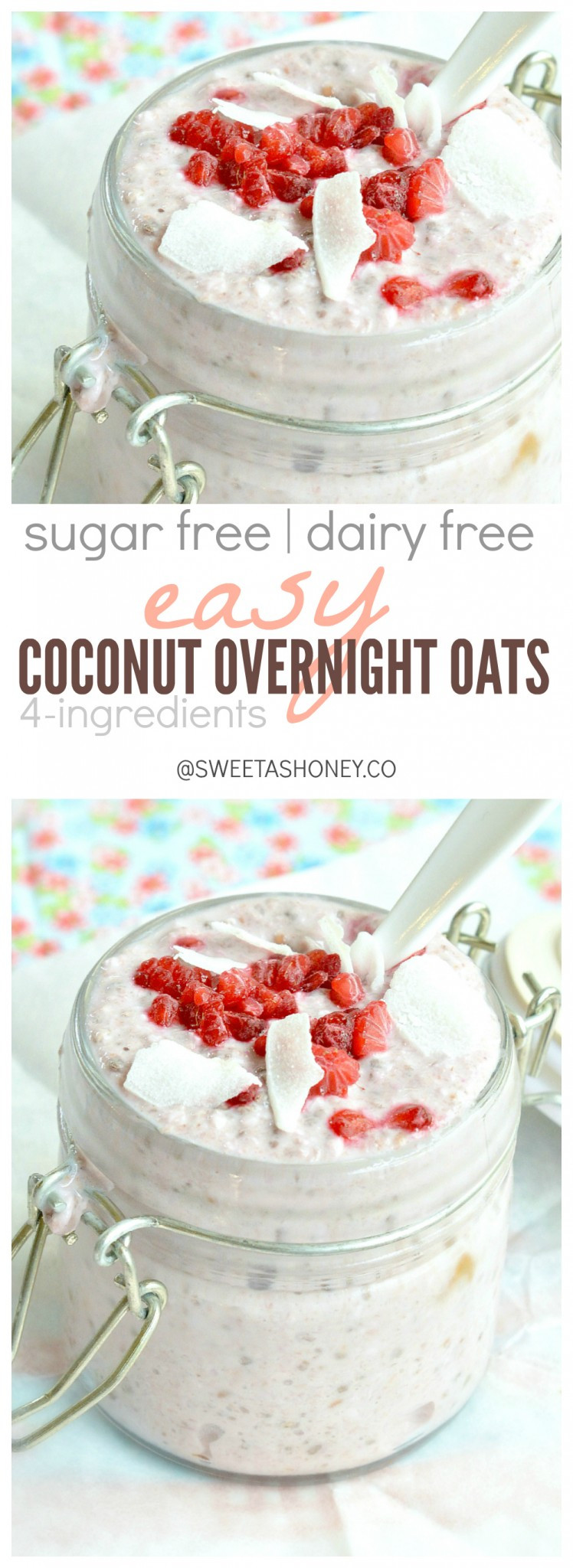 Dairy Free Overnight Oats  Overnight Oats Recipe Dairy free breakfast Sweetashoney